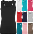 New Womens Strappy Sleeveless Racer Back Ribbed Stretch Bodycon Vest Ladies Top