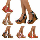 Ladies Platform Wedge High Heels Strappy Peep Toe Sandals Summer Shoes Size Prom