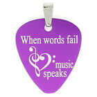 "ElimL(TM) ENGRAVED GUITAR PICK WITH NECKLACE  ""WHEN WORDS FAILS MUSIC SPEAKS"""