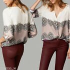 New Women Vintage Totem Print Blouse V Neck Long Sleeve Casual Loose Shirt Top