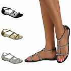 Ladies Flat Summer Sandals Gladiator Golden Jewel Diamante Flip Flops Shoe Size