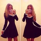Sexy Women Slim Fitted Lace Bandage Winter Casual Party Club Skater Mini Dress