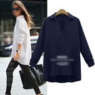 Women Ladies Solid Long Sleeve V Neck Loose Casual Blouse Shirts Tops Plus Size
