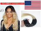 16''-24'' Tape In Remy Human Hair Extensions Ombre/Mixed Colour Straight in USA