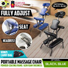 Aluminium Portable Massage Chair Beauty Therapy Bed Tattoo Waxing BLUE / BLACK