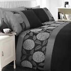 Mei Black Ink Grey Silver Jacquard Floral Luxury Duvet Quilt Cover Bedding Set