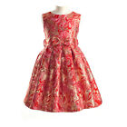 DESIGNER RED GOLD PINK DAMASK GIRLS PARTY DRESS AGE 2 3 4 5 6 7 8 NEW CHRISTMAS
