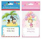 10 x Party Invites Invitations Girls Pink Fairy Princess Blue Boy Pirate Design