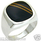 925 Sterling Silver Black Semi-Precious Onyx Brown Stripe Men's Ring Size 8-14