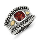 Garnet Ring Bezel Set Band .925 Sterling Silver & 14K Accent Sz 6-8 Shey Couture