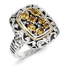 Citrine & Diamond Ring Silver w/ 14K Gold Accent 0.03 Ct Size 6 - 8 Shey Couture