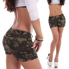 Damen Hotpants Camouflage Army Armee Tarn Hüftjeans Jeans Shorts Shorty Wow B74
