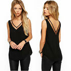 Fashion Women's Sleeveless V-Neck Casual Loose T Shirt Tops Vest Chiffon Blouse
