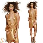 Ladies Sexy Gold Disco Diva 70s 80s Fancy Dress Costume Outfit 8-14