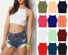 Womens Plain Strappy High Neck Crop Top Ladies Sleeveless Bralet Vest Top