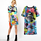 Women Floral Print Short Sleeve Clubwear Party Summer Sexy Mini Dress Multicolor