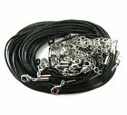 """Rockin Beads 20 Imitation Leather Cord Necklaces Black 18""""  Lobster Claw Clasp"""