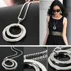 New  Lady Crystal Rhinestone Silver Plated Long Chain Pendant Necklace Gift