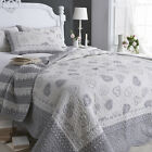 Sashi Bed Linen Lucerne 100% Cotton Scalloped Edge Quilted Bedspread, Grey/White