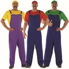 Mens Super Mario Luigi Wario 1980s Plumber Fancy Dress Costume Outfit M L XL