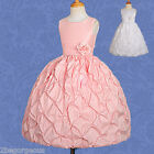 Flower Girl Bubble Dress Wedding Bridesmaid Party Pattern Pink Size 3y-7y #179
