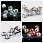 50pcs 5mm Czech Crystal Rhinestones Silver Plated Rondelle Spacer Beads Caps
