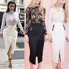 AP1 Ladies Celeb Floral Lace Bodysuit Womens Wrap Over Split Midi Skirt Co Ord
