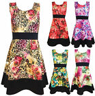 Womens Printed Skater Dress Ladies Sleevelesss Floral Block Panel Plus Size 8-26