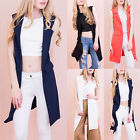 AP2 Womens Plain Sleeveless Open Front Blazer Ladies Collared Waistcoat Jacket