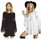 Women's Lace Patchwork Loose Long-sleeved A-line Casual Dress Tops Plus Size LG