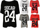 New Womens Chicago 24 Print Ladies Short Sleeve Baggy Baseball T-Shirt Top 8-14