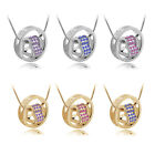 1pc Rhinestone Love Heart in Ring Pendant Chain Necklace Silver/Gold Couple Gift