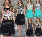 Womens Summer Belted Chiffon Floral Wear to Work Party Prom Skater Dress 745