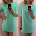 New Hot Fashion Women Lady Mint Green Half Sleeve Loose Dress Clothes Reliable