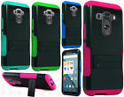 For LG G4 Hybrid Silicone Rubber Skin Case Hard Kick Stand Cover Accessory