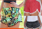 Ladies Elastic Waist Casual Short Pant Summer Beach Shorts uk sz 6-14