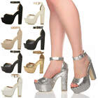 WOMENS LADIES PLATFORM HIGH HEEL PEEP TOE SHOES PARTY ANKLE STRAP SANDALS SIZE