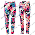 LADIES KNITTED NEON FLORAL PRINT CREPE TROUSERS SIZE 8-14