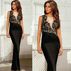 FISHTAIL Sexy Women Celebrity Long BODYCON Evening Cocktail Prom BLACK Dresses