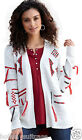NEW LADIES WOMANS AZTEC TRIBAL WINTER IVORY TASSLE CARDIGAN PLUS SIZE 10-36 UK