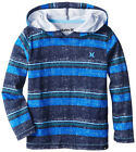 Hurley Boys L/S Hooded Striped Blue Top Size 4 5 6 $28