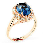 Rose Gold Plate Oval Blue Sapphire Crystal Ring Made With Swarovski Crystal R59