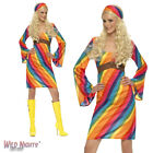 FANCY DRESS COSTUME # LADIES 1960's 70's RETRO RAINBOW HIPPIE DRESS SIZE 8-22