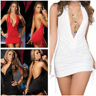 Chic Sexy Deep V-Neck Backless Drapes Bodycon Lady Cocktail Party Clubwear Dress