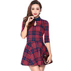 Summer Women Sexy Crop Tops & Mini Skirt Set Plaid Casual Party Cocktail Dresses