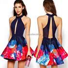 Women Summer Sexy Backless Bodycon Print Pleated Party Cocktail Short Mini Dress