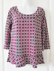 DKNY WHITE RED MULTI GEOMETRIC POLYESTER CASUAL 3/4 SLEEVE TOP BLOUSE S M NEW