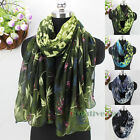 Women's Fashion Scarf Leopard & Birds of Paradise Print Long/Infinity Scarf New