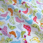 per 1/2 metre/FQ  White Quirky birds dressmaking/craft fabric 100% COTTON