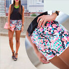 Boho Fashion Womens Summer Printing Elastic waist Beach Casual Shorts Plus size